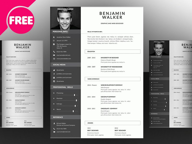 Clean Resume Template Free Psd by Free Download PSD - Dribbble