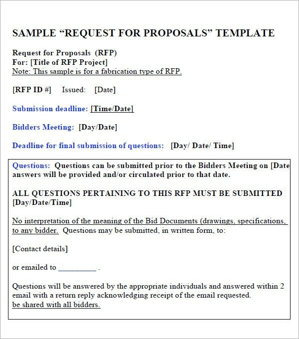 Request For Proposal Template   9+ Download Free Documents In PDF