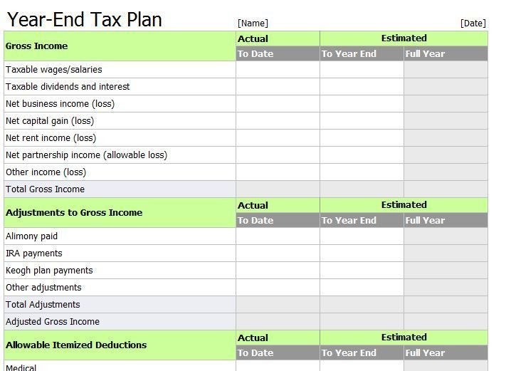 Tax Templates For Excel | Templates and Samples