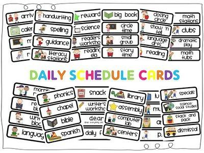 Daily Schedule Cards Free Printables | Classroom Daily Schedule ...