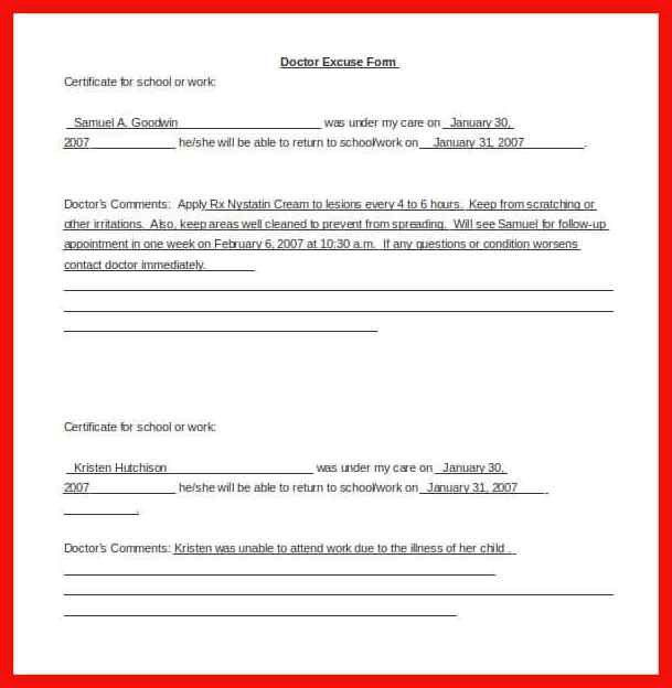 medical excuse for school | apa example