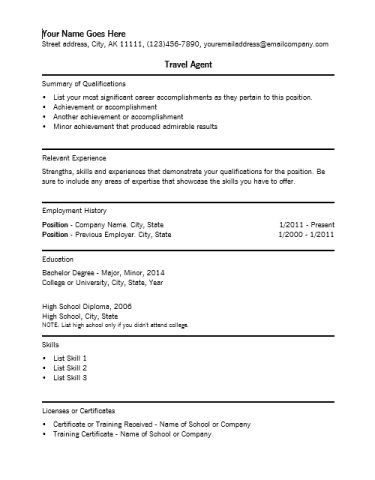 Resume For Travel Agent | Resume Format Sample Ojt