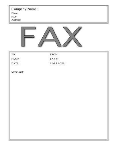 This basic printable fax cover sheet has the word Fax in large ...