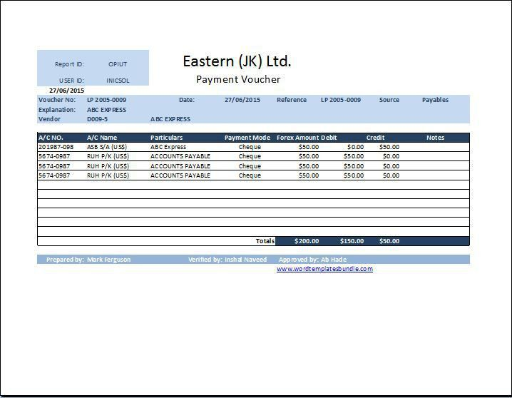 MS Excel Payment Voucher Template   Formal Word Templates