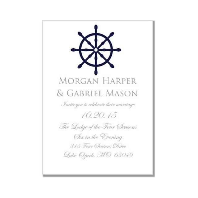 "Nautical Wedding Invitation Template-""Nautical Wheel"" Printable ..."