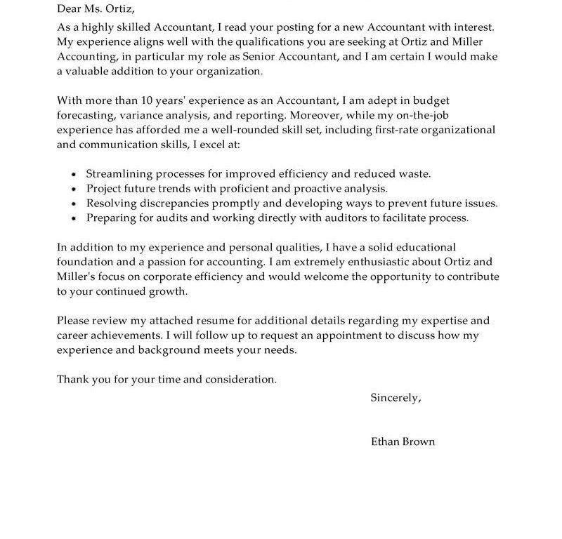 Neoteric Accounting Cover Letter 13 Best Accountant Examples - CV ...