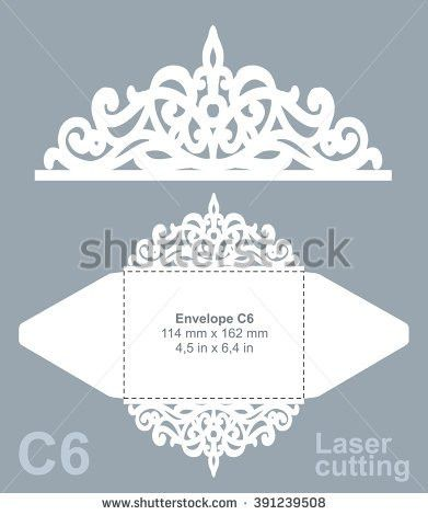 Vector die cut envelope template for laser cutting. Invitation ...