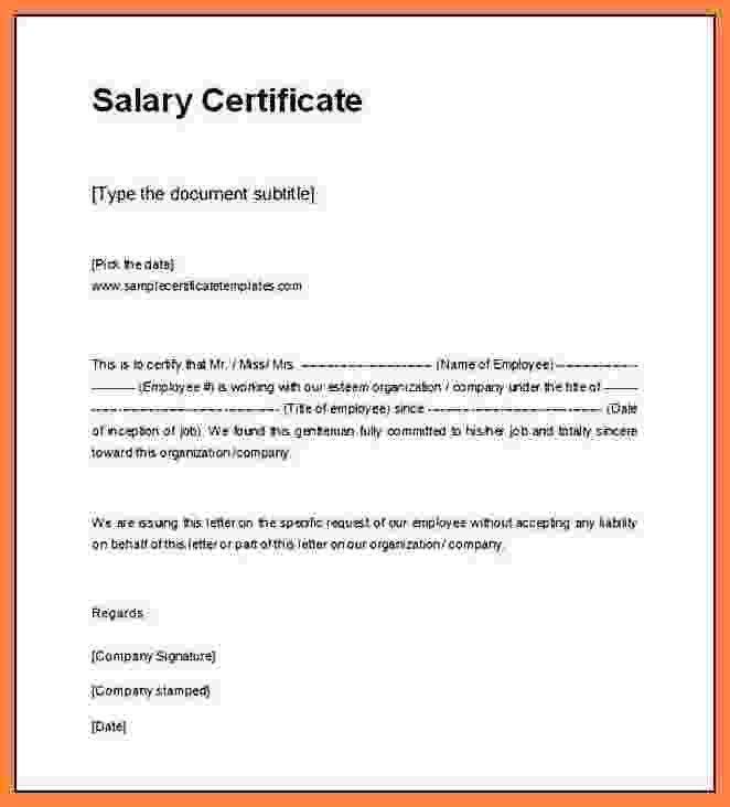 7+ salary certificate letter format word | Simple salary slip