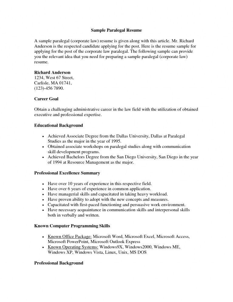 100+ [ Resume Paralegal ] | Attorney Resume 22 Sample Resume ...