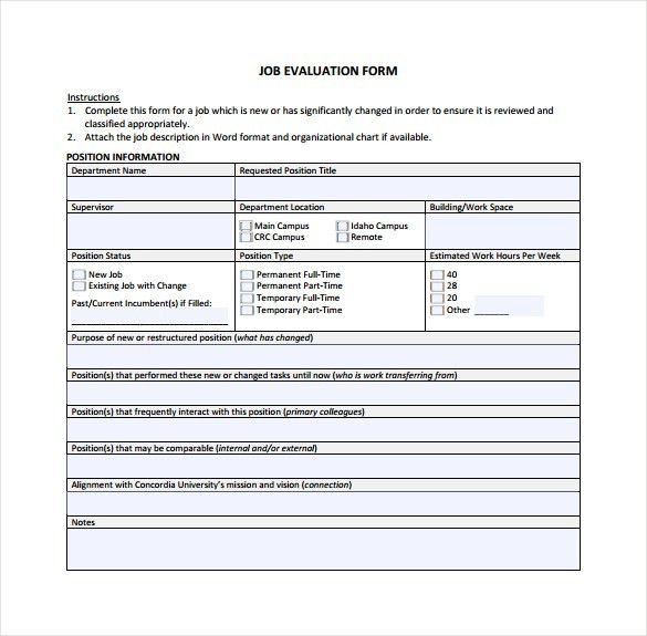 Sample Job Performance Evaluation Form. Manager Self Evaluation ...