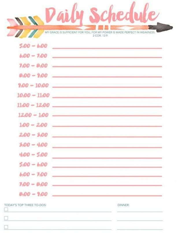 Daily Weekly Schedule Template - Free Printable Daily Schedule ...