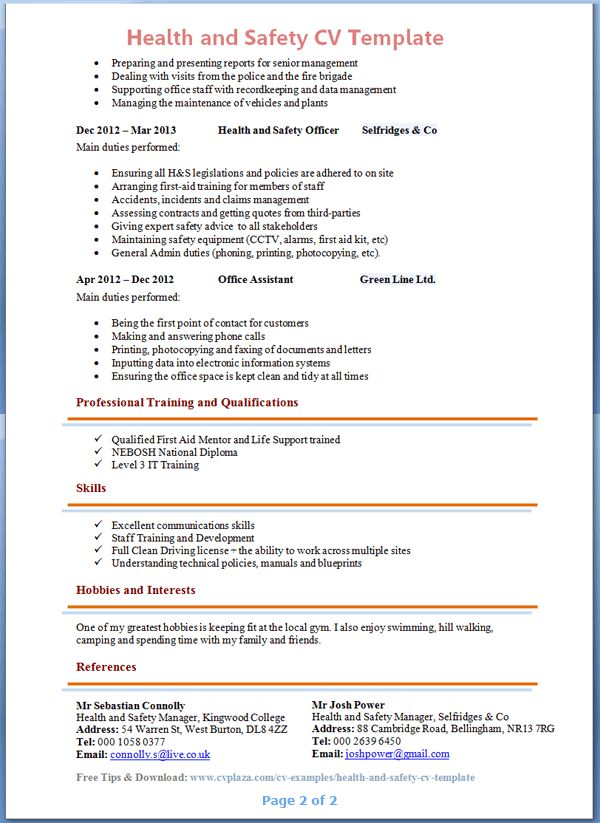 Health and Safety CV Template + Tips and Download – CV Plaza