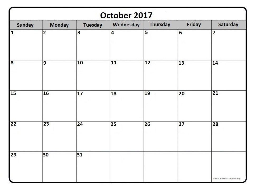 October 2017 calendar template | October 2017 printable calendar