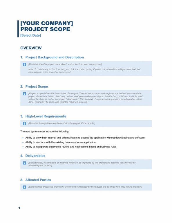 Project scope report (Business Blue design) - Office Templates