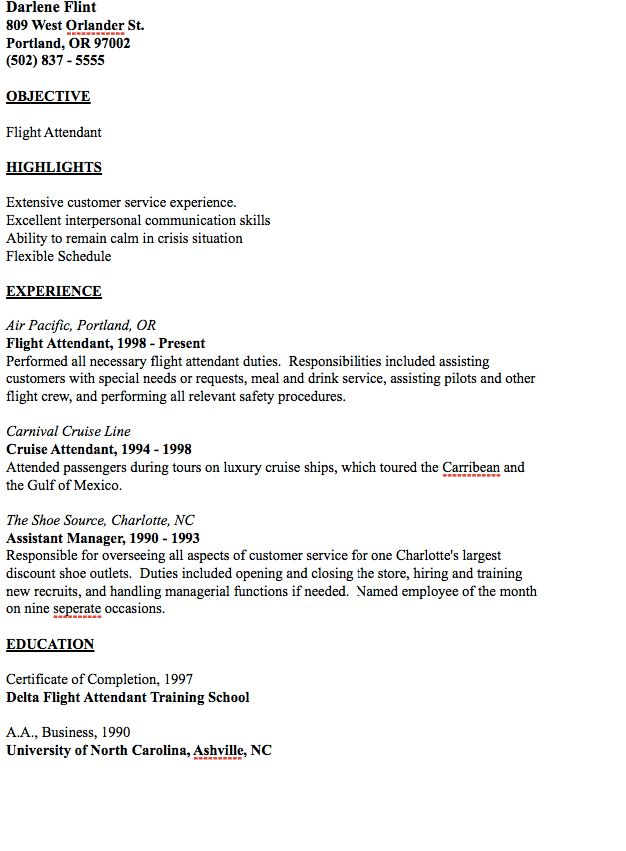 Example of Flight Attendant Resume - http://resumesdesign.com ...