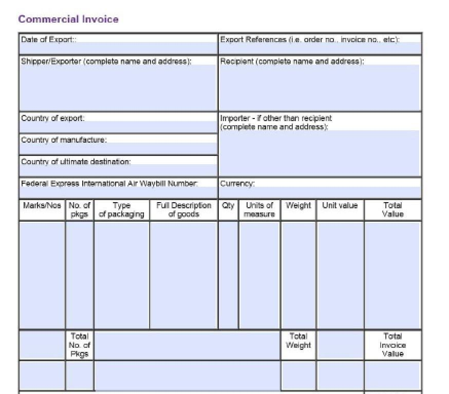 fedex commercial invoice template | Free Invoice