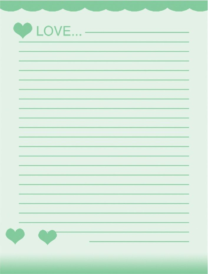 free school writing paper template with green hearts and love ...