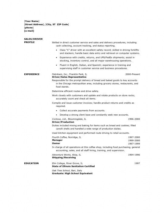 Awesome Delivery Driver Resume Sample | Resume Format Web