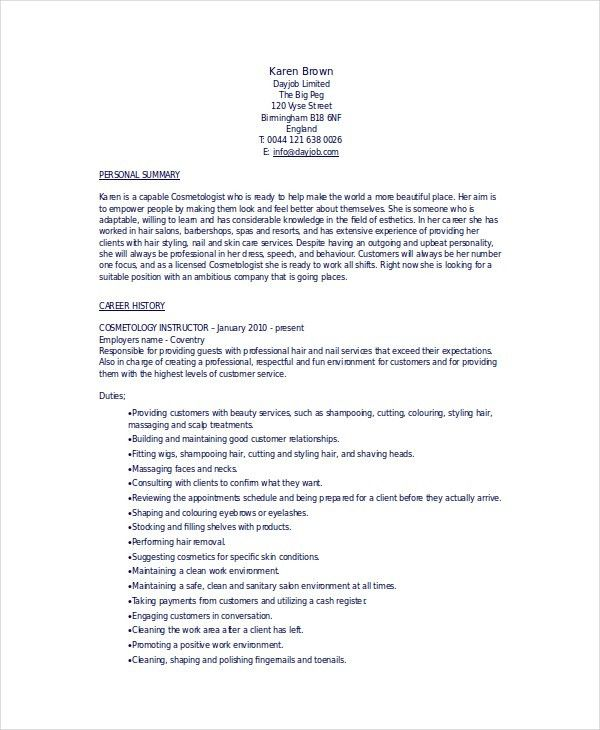 cosmetology resume template 5 free word pdf documents download - Cosmetology Resume Samples