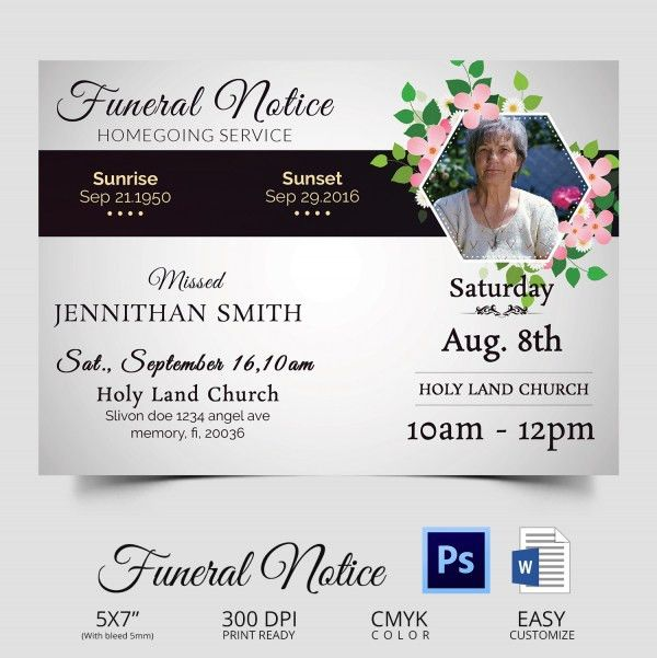 Funeral Notice Template - 12+ Free Word, Excel, PDF, PSD Format ...