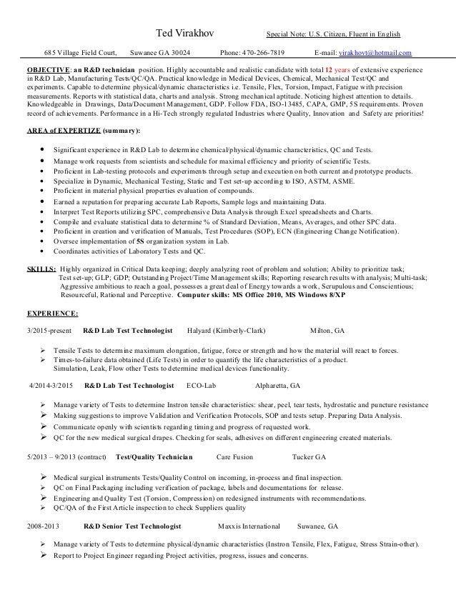 Base Lab Tech Resume