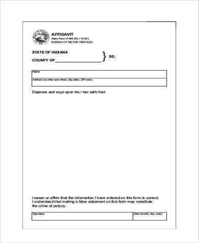 Blank Affidavit Form Samples - 19+ Free Documents in Word, PDF