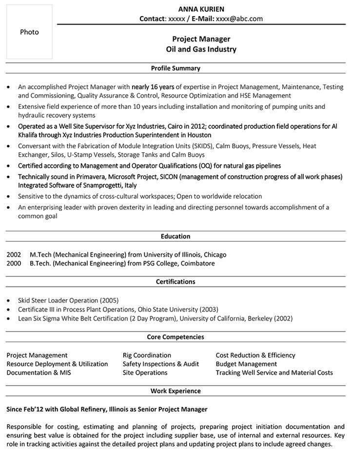 Oil and Gas CV Format – Oil and Gas Resume Sample and Template