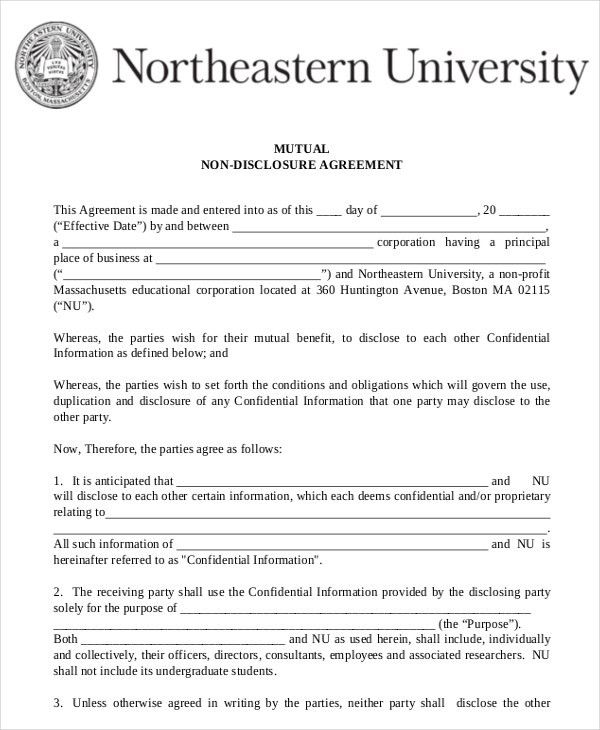 Mutual Non Disclosure Agreement Form – 10+ Free Word, PDF ...