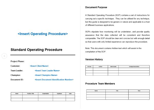 Standard Operating Procedure (SOP) Template – Easy Document Creation