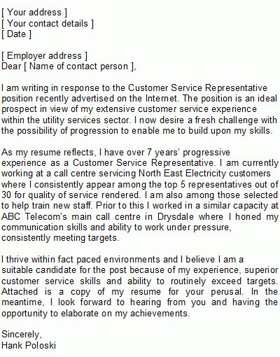 Customer Service Representative Covering Letter Sample