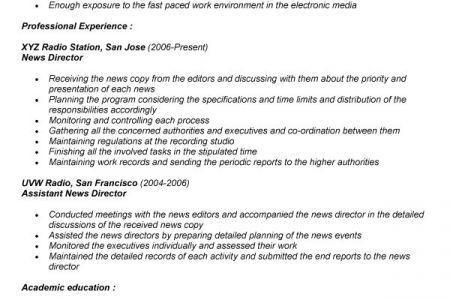 resume design template. broadcast news internship resume samples ...