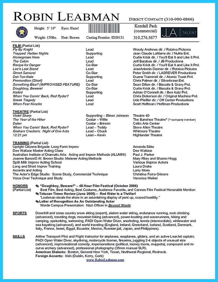 Actors Resume Example. How To Become An Actress - Steps - Cinema ...