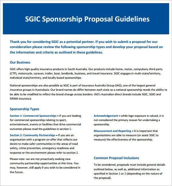 Proposal Template » Free Racing Sponsorship Proposal Template ...