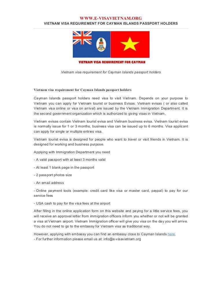 Vietnam visa requirement for cayman islands passport holders