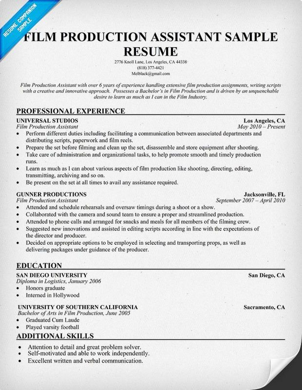 Film Production Resume (resumecompanion.com) | Resume Samples ...