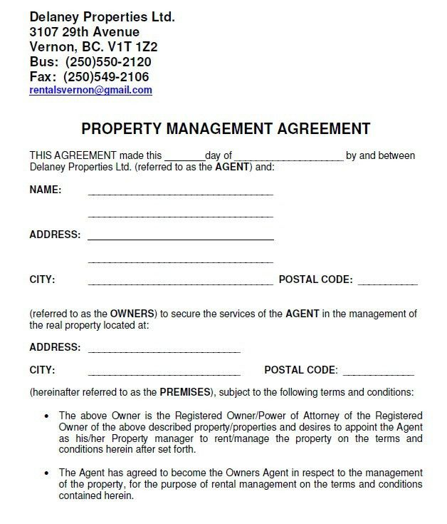 8 Free Property Agreement Templates – Stationery Templates