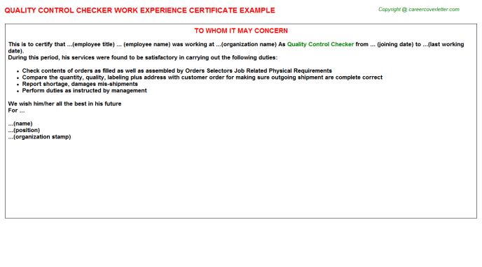 Quality Control Checker Work Experience Certificate