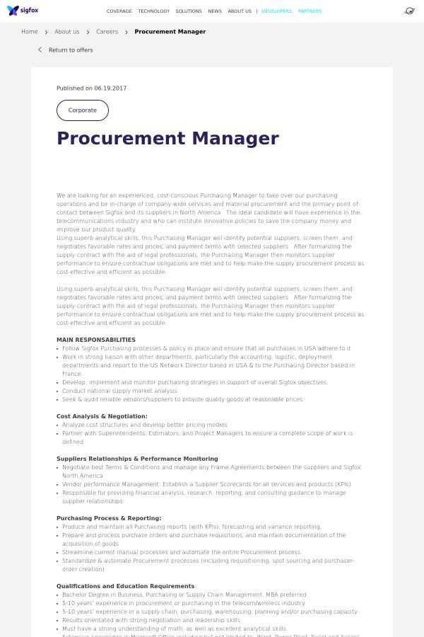 Procurement Manager job at SIGFOX in Fort Worth, TX | Tapwage Job ...