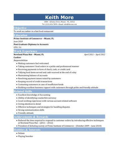 Resume For Cashier | berathen.Com