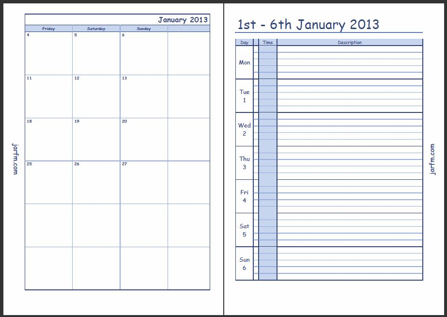 Printable Weekly Calendar With Times » Calendar Template 2017