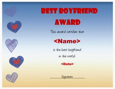 "A ""best boyfriend"" award certificate. Download a .doc file for ..."