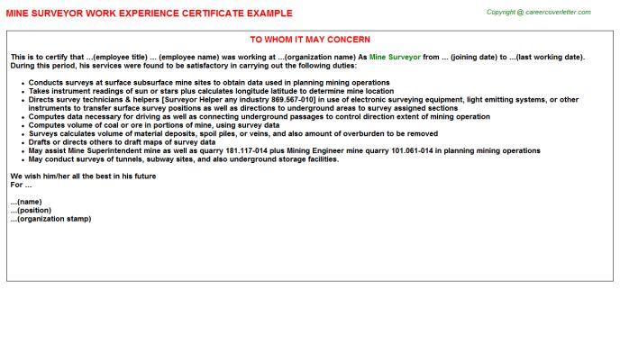 Mine Surveyor Work Experience Certificate