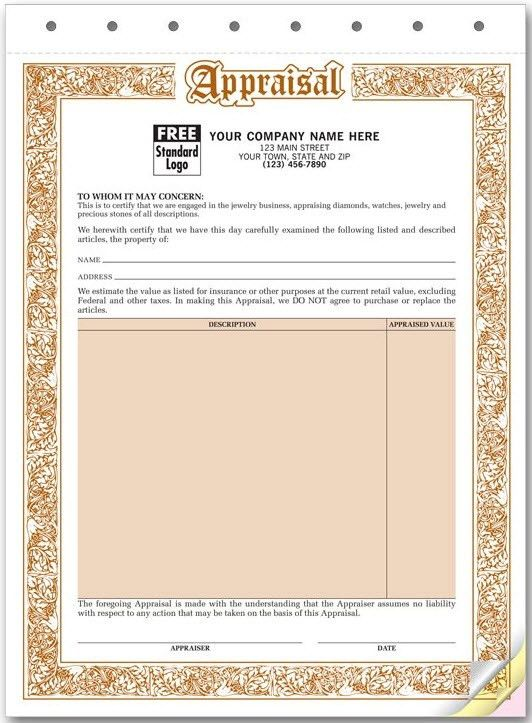 Jewelry Appraisal Form | Free Shipping