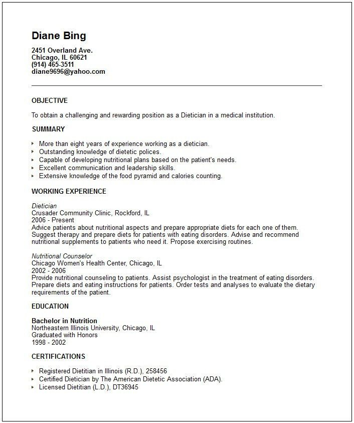 dietitian resume template dietitian resume template 6 free word