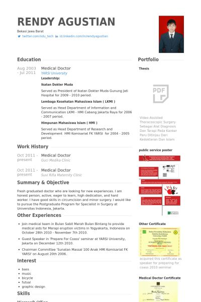 Medical Doctor Resume samples - VisualCV resume samples database