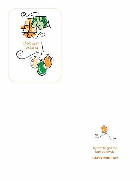 Happy Birthday card (with balloons, quarter-fold) - Office Templates