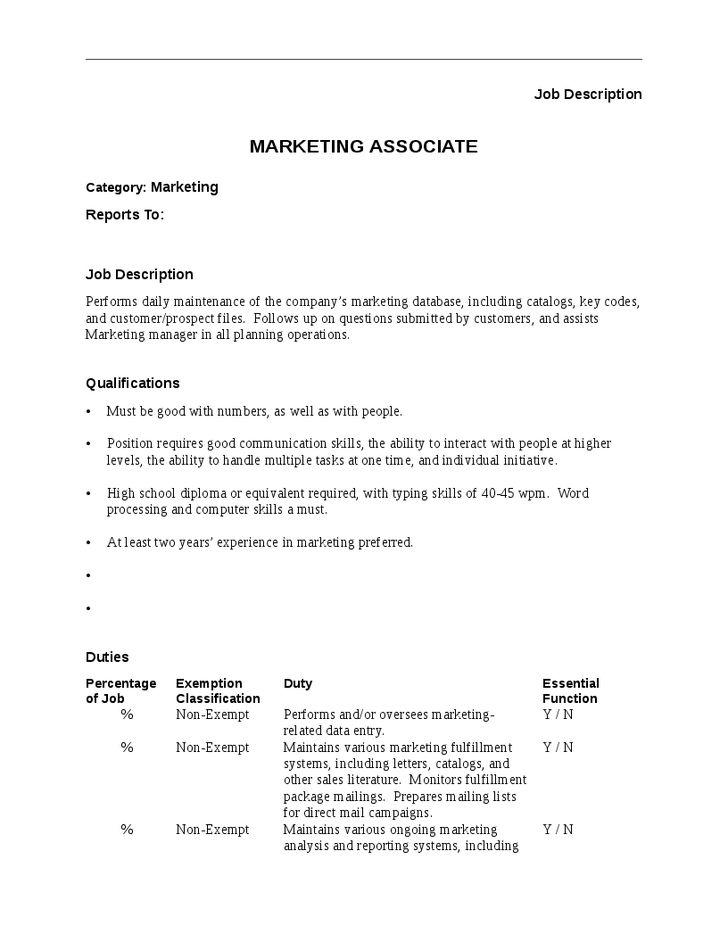 marketing associate job description. sweet job description of ...