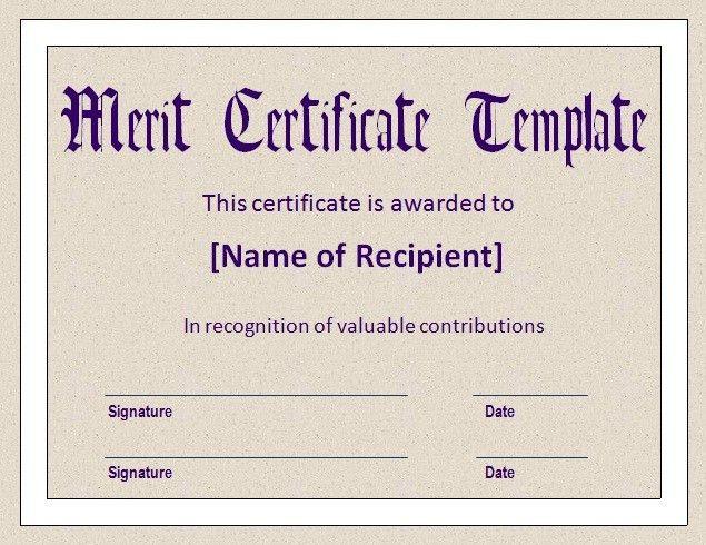 Merit Certificate Template PDF | Blank Certificates