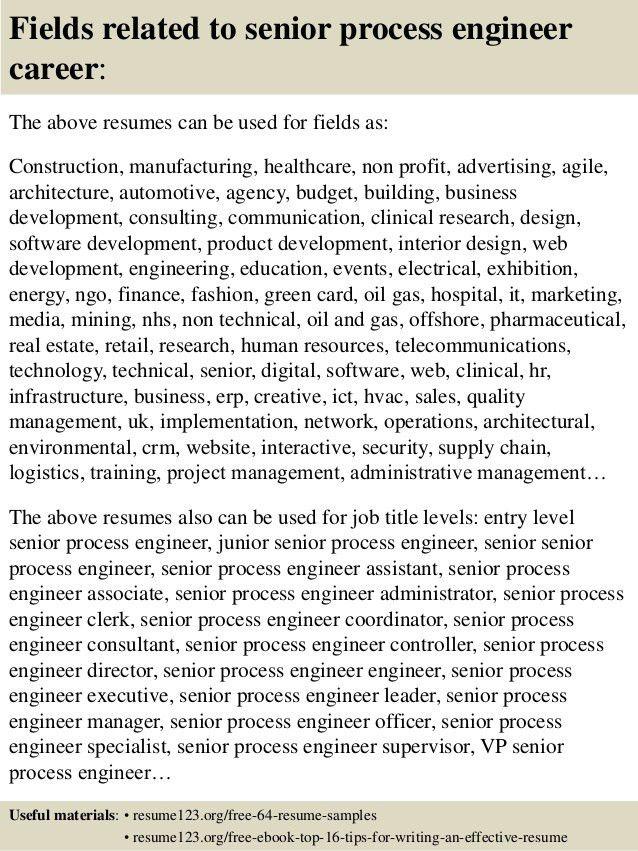 Top 8 senior process engineer resume samples