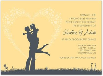 Yellow Engagement Invitations, Yellow Wedding Engagement Party Invites